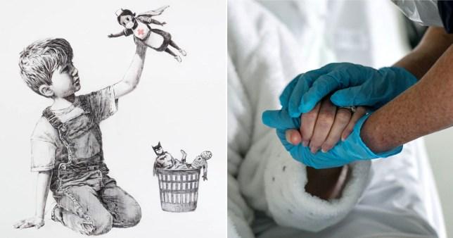 Banksy new artwork of superhero nurse Game Changer now at Level C of Southampton General Hospital