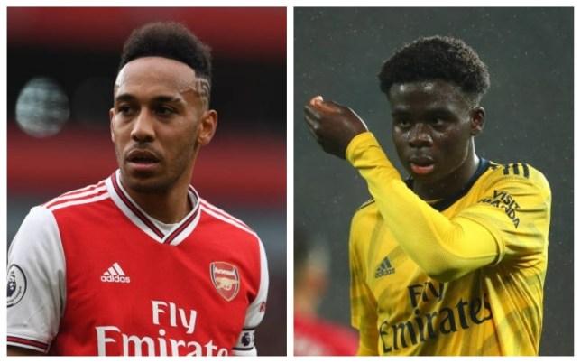 Arsenal's Pierre-Emerick Aubameyang and Bukayo Saka