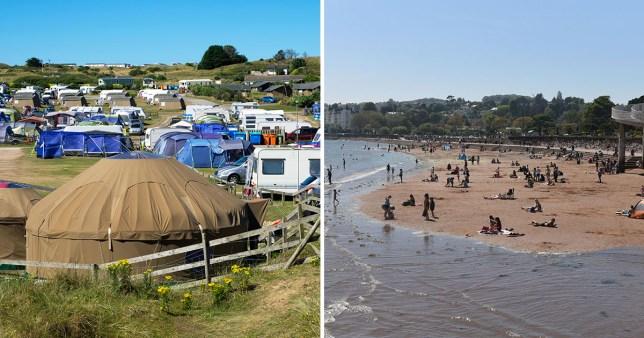 Campsite in Devon and beach in Torquay