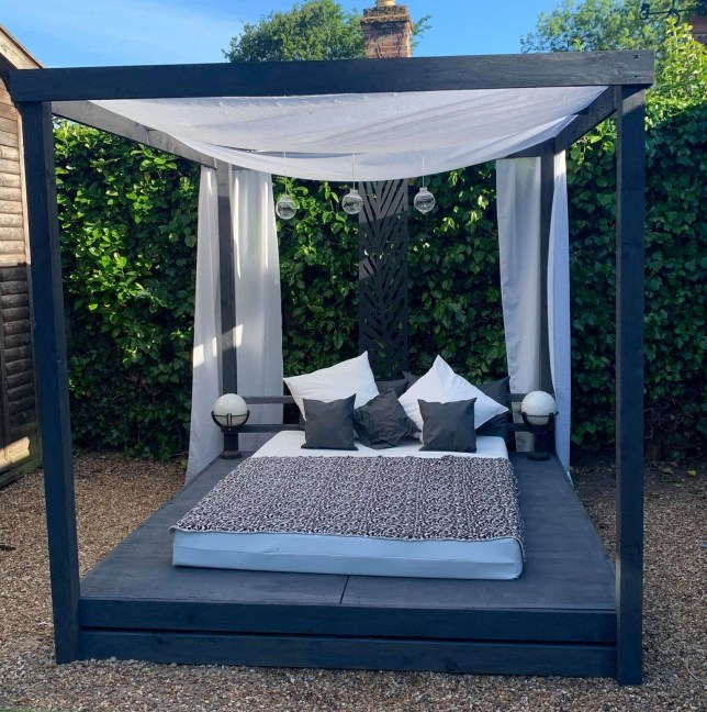 Day bed in back garden