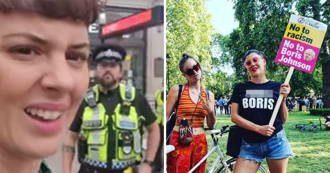 Actor Jessie-Lu Flynn is stopped by a police officer in Regent Street for wearing a t-shirt saying 'f**k Boris'