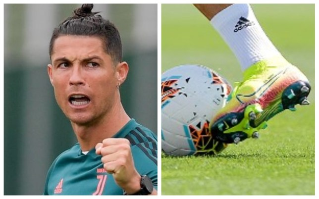 Cristiano Ronaldo is testing out new studs during Juventus' training sessions
