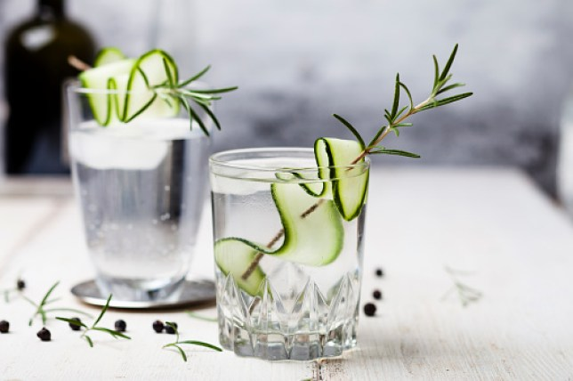 Gin Tonic with rosemary and cucumber