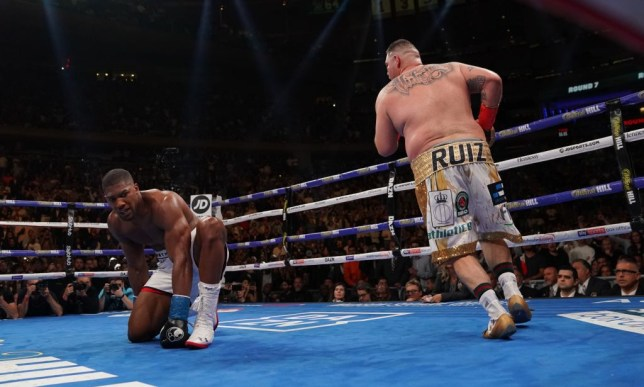 Anthony Joshua is knocked down by Andy Ruiz