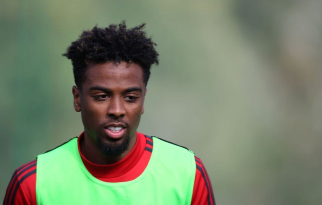 Chelsea transfer target Angel Gomes looks on in Manchester United training