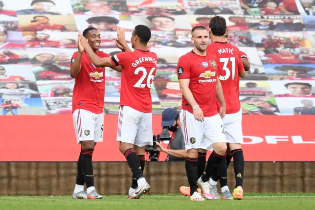 Anthony Martial celebrates scoring in Manchester United's victory over Sheffield United in the Premier League