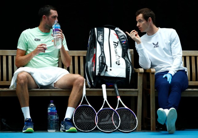Andy Murray coaches James Ward in his third place play-off match against Cameron Norrie during day 6 of Schroders Battle of the Brits at National Tennis Centre on June 28, 2020 in London, England.