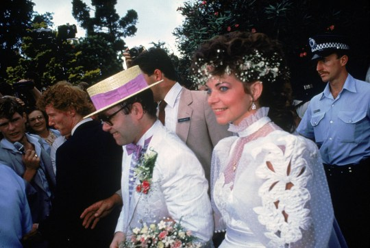 Sir Elton John on wedding day to Renate Blauel