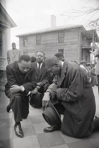 Martin Luther King Jr. Praying in selma alabama