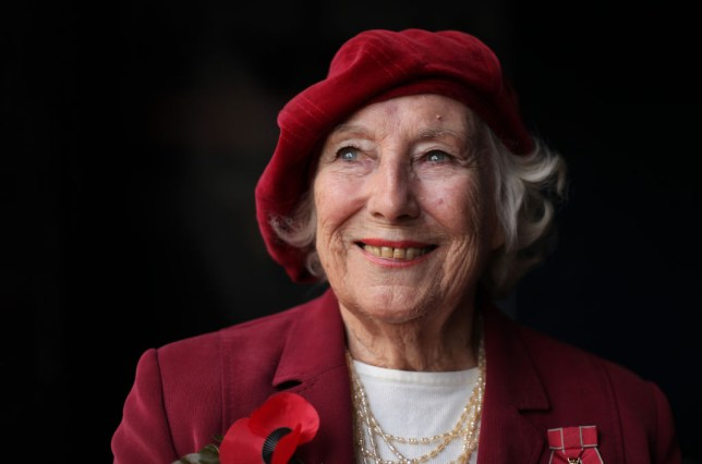 Forces sweetheart Dame Vera Lynn poses f