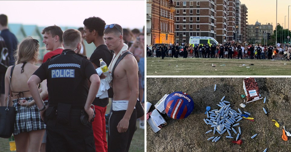 Hundreds of young adults and teenagers gather at an impromptu beach party on Hove Lawn on June 25, 2020, which was broken up by Sussex Police