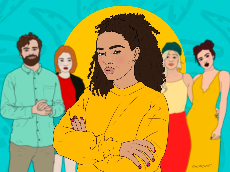 Illustration of a mixed-race woman in front of white people