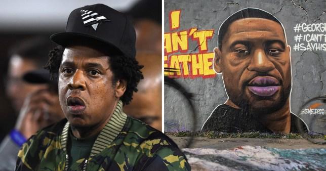 Jay-Z pictured separately alongside George Floyd mural