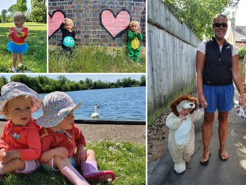 Adorable twins dress up for mile-long walks to raise money for charity