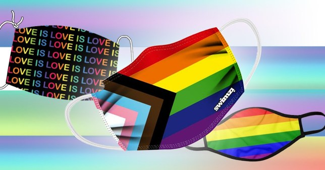 Pride rainbow-themed masks on a faded rainbow background.