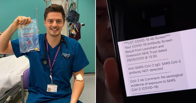 Dr Alex George pictured with his coronavirus antibody test alongside a text message of his results