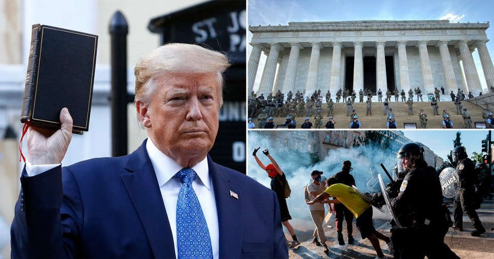 Donald Trump poses outside a church near the White House holding up a Bible after police tear gassed protesters to clear the area. National Guard soldiers stand outside the Lincoln Memorial in Washington while protesters clash with police over the death of unarmed and handcuffed George Floyd at the hands of a white police officer