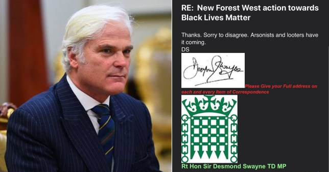 Tory MP Desmond Swayne, who has been  criticised for his 'dismissive and disgraceful' comments about George Floyd protesters