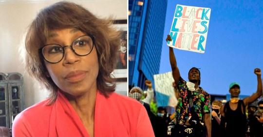 Trisha Goddard and protestors