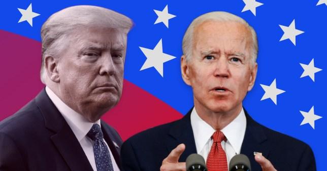 Donald Trump et Joe Biden avec en toile de fond le drapeau américain