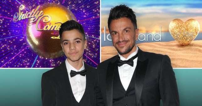 Peter Andre and son Junior pictured in front of the logos for Strictly Come Dancing and Love Island