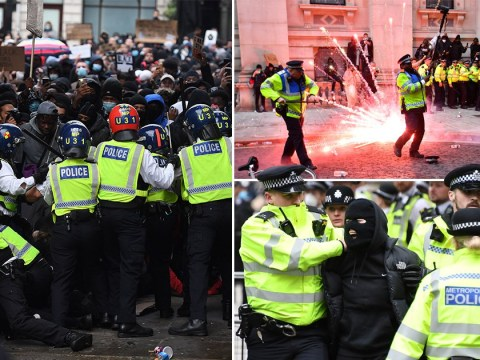 Police chased down Whitehall and Cenotaph damaged as 12 arrested at BLM protests