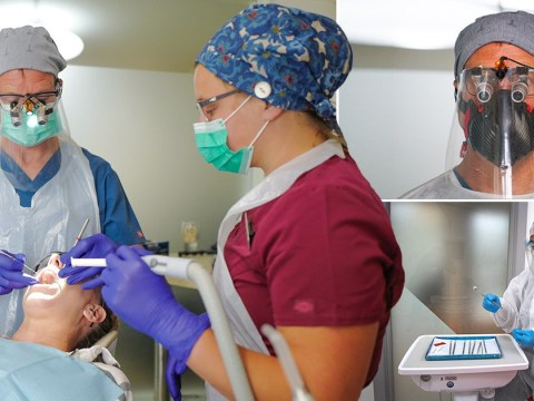Dentists wear visors as they return to work for first time in 11 weeks
