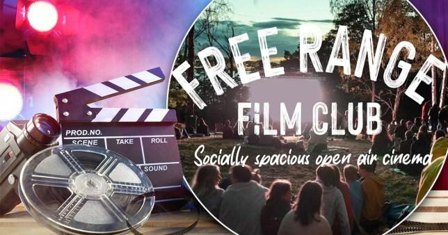 logo of free range film club on colourful background