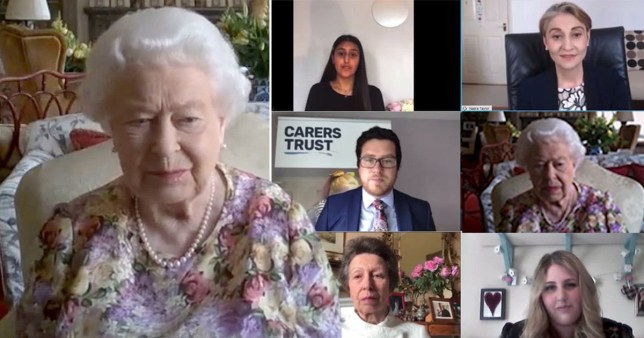 Queen Elizabeth II and the Princess Royal as they take part in a video call with carers supported by the Carers Trust.