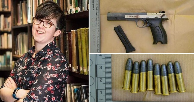 Composite image of Lyra McKee adn the weapon used to kill her