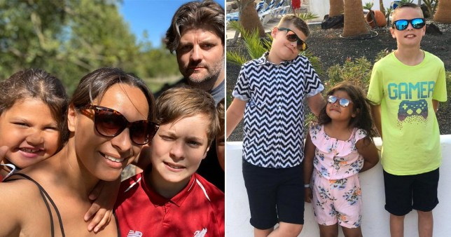 Mixed race mum and white dad with their three kids
