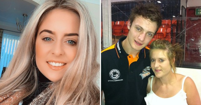 Charlotte Flanigan, now 24, from Rotherham, South Yorkshire, and picture of her at 15 with hockey player Tom Squires, who groomed her and began sending inappropriate messages to her.