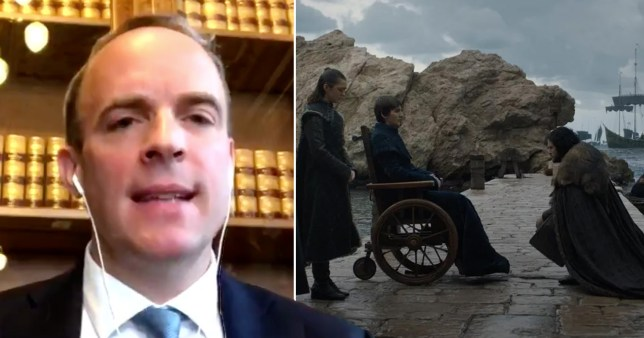 A composite image of Dominic Raab and a scene from Game of Thrones
