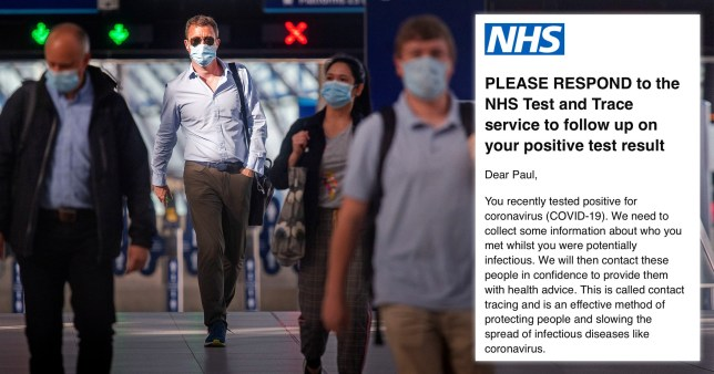 Composite of people wearing face masks and screen grab of the NHS contact tracing app