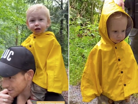 Stacey Solomon's son Rex gets so confused while on dad Joe Swash's shoulders during rainy walk and it's the purest thing