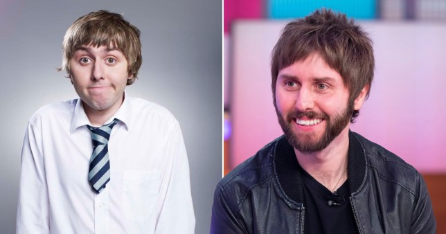 The Inbetweeners star James Buckley pictured separately alongside his show character Jay