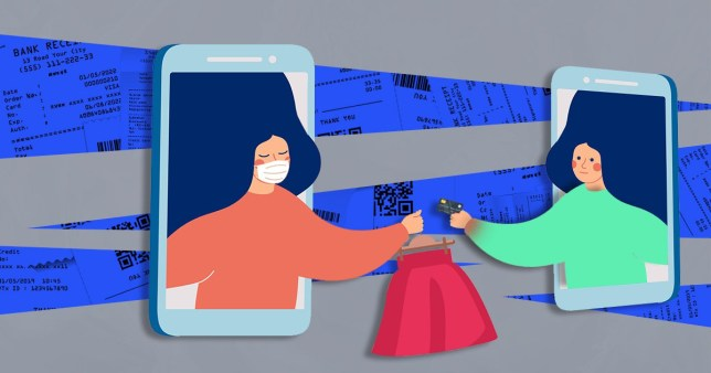 illustration of a woman wearing a mask passing a dress to someone else
