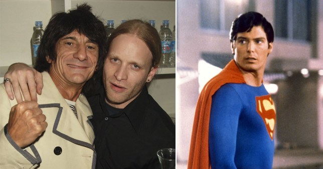 Ronnie Wood and son Jamie pictured together alongside a picture of Christopher Reeve as Superman