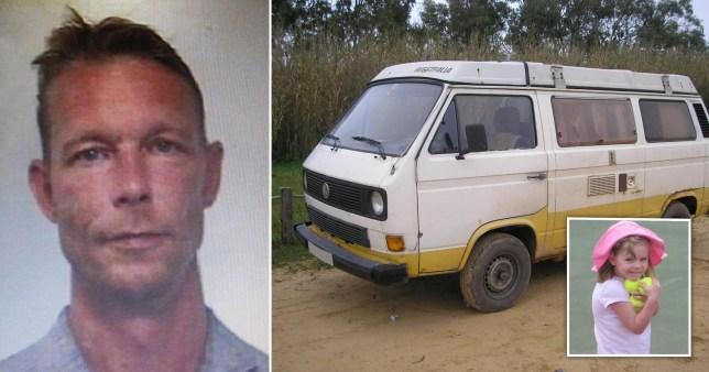 Composite image of Christian Brueckner, his van and Madeline McCan