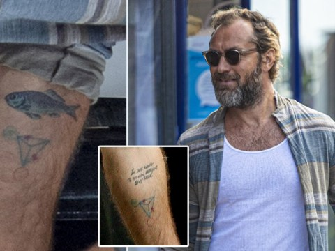 Jude Law covers up tattoo dedicated to ex Sadie Frost with a fish, 17 years after their split