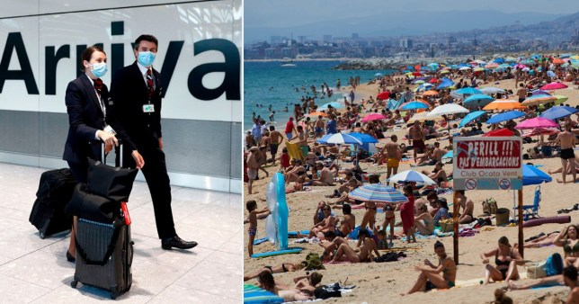 Comp of travellers and people on a beach in Spain