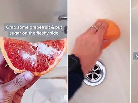 Woman reveals how she uses grapefruit halves to clean her bath