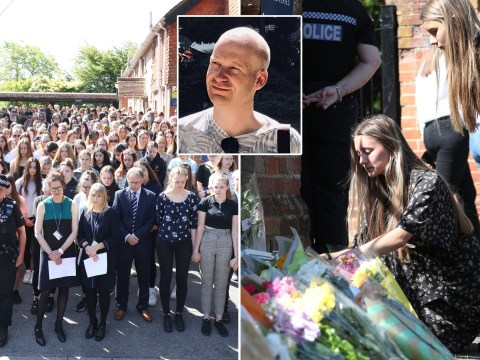 Children pay tribute to teacher as minute's silence held for Reading victims
