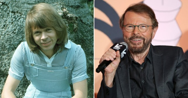 Bjorn Ulvaeus pictured back in the '70s in ABBA and speaking at a press event