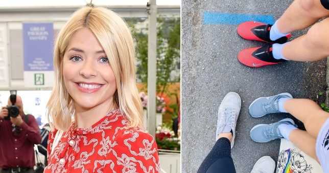 Holly Willoughby pictured alongside birds eye photo of her and her children's feet queuing in the school playground