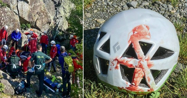 A 19-year-old mountain climber was miraculously saved by his helmet after plunging 26 feet while rock climbing in the Lake District.