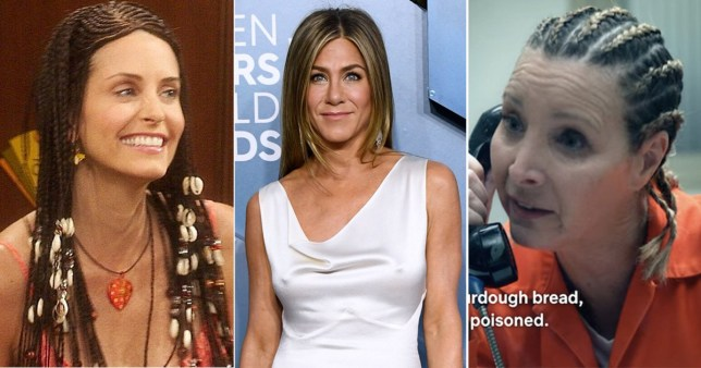 Jennifer Aniston doesn't think she can pull off cornrows like Lisa Kudrow and Courteney Cox