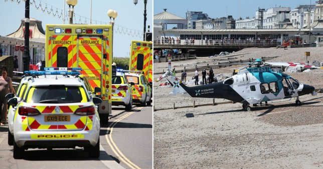 Composite image of emergency services responding to woman who died on beach in Worthing
