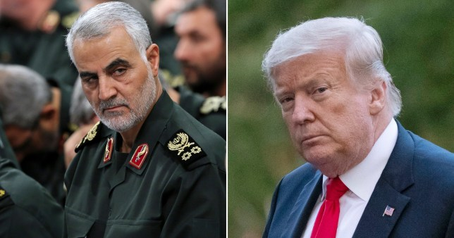 a comp of Donald Trump and Qassem Soleimani