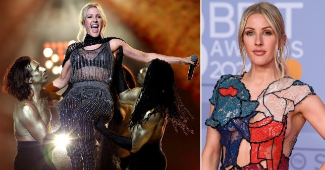 Ellie Goulding performing on stage at the Brits pictured alongside her arriving on awards red carpet
